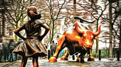 Fearless Girl And Wall Street Bull Statues 9 Poster by Nishanth Gopinathan