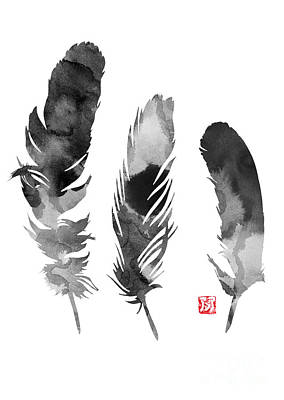 Feathers Silhouette Giclee Print Poster