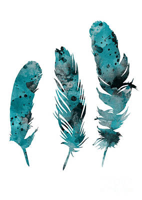 Feathers Watercolor Painting Poster