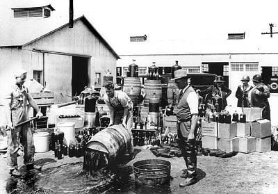 Federal Prohibition Agents Dump Liquor 1932 Poster by Daniel Hagerman