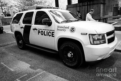 federal protective police homeland security chevy suv vehicle New York City USA Poster