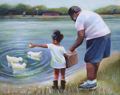 Feeding Ducks With Grampa Poster