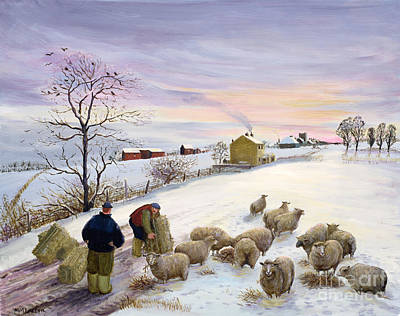Feeding Sheep In Winter Poster by Margaret Loxton