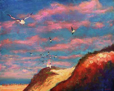 Feeding The Gulls Near The Gulf Poster