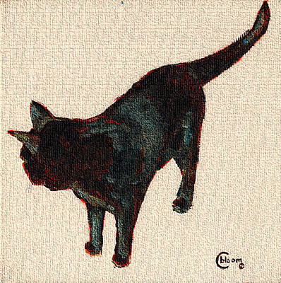Chat Noir No. 1 Black Bombay Cat Painting Poster by Cecely Bloom