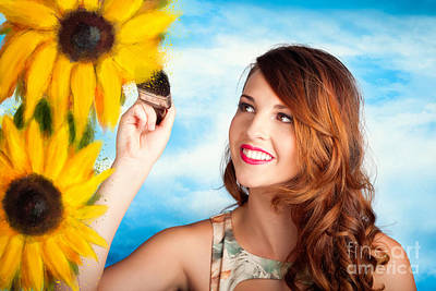 Female Artist Drawing Sun Flowers During Summer Poster