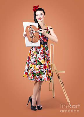 Female Artist Paints Self Portrait With Oil Paint Poster
