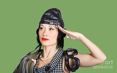 Female Aviation Lady Saluting In Pin-up Class Poster