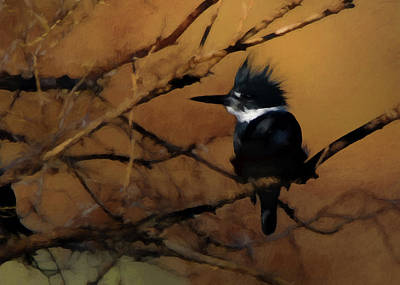 Poster featuring the digital art Female Belted Kingfisher 2 by Ernie Echols