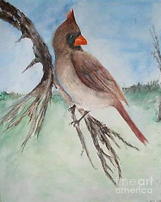 Poster featuring the painting Female Cardinal by Sibby S