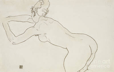 Female Nude Kneeling And Bending Forward To The Left Poster by Egon Schiele