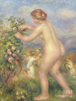 Female Nude Picking Flowers Poster