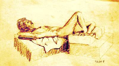 Female Nude Reclining On Cushions Poster by Sheri Buchheit
