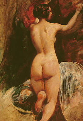Female Nude Seen From The Back Poster by William Etty