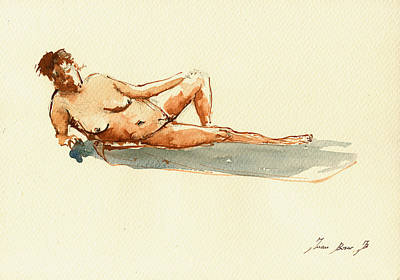 Female Nude Watercolor Poster by Juan  Bosco