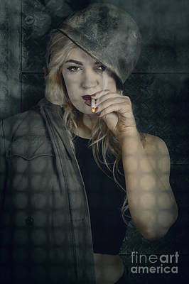 Female Pinup Soldier Smoking Cigarette In Foxhole Poster by Jorgo Photography - Wall Art Gallery
