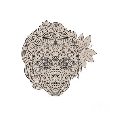Female Sugar Skull Calavera Retro Poster by Aloysius Patrimonio