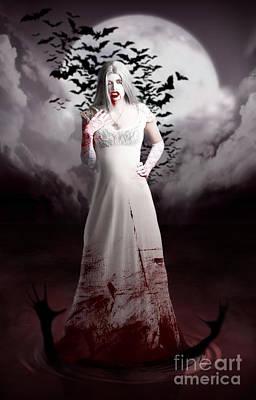 Female Vampire During Twilight Full Moon Horror Poster by Jorgo Photography - Wall Art Gallery
