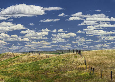 Fence Along The Rolling Hills By The Roadway Poster