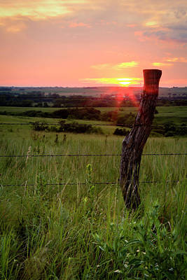 Poster featuring the photograph Fence Post At Sunset by Scott Bean