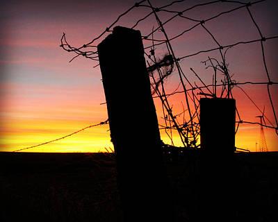 Fence Sunrise Poster