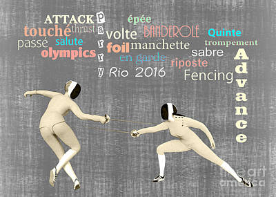 Fencing Duo Poster by Methune Hively