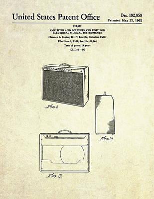 1962 Fender Amp Patent Art Poster by Gary Bodnar