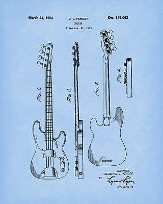 Poster featuring the drawing Fender Bass Guitar 1953 Patent Art Blue2 by Prior Art Design