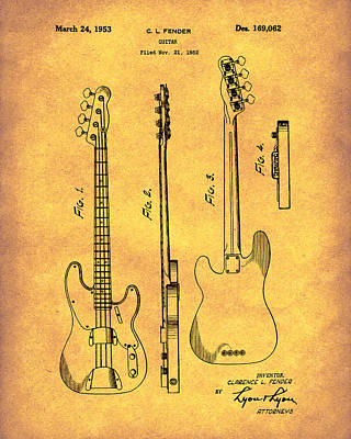 Poster featuring the drawing Fender Bass Guitar 1953 Patent Art Gold by Prior Art Design