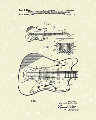 Fender Guitar 1966 Patent Art Poster by Prior Art Design