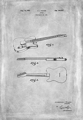 Fender Guitar Patent From 1951 Poster by Mark Rogan
