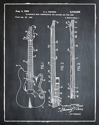 Fender Stratocaster Patent 1964 Chalk Poster