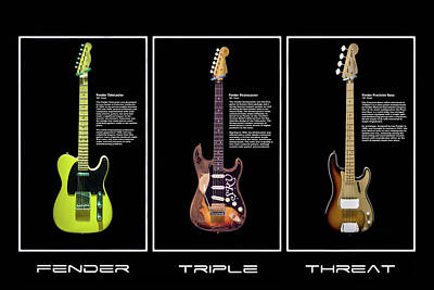 Fender Triple Threat Poster by Peter Chilelli