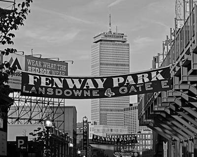 Fenway Park Banners Boston Ma Black And Whtie Poster by Toby McGuire