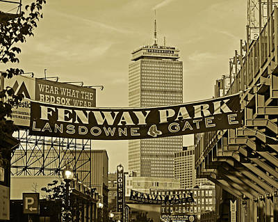 Fenway Park Banners Boston Ma Sepia Poster by Toby McGuire