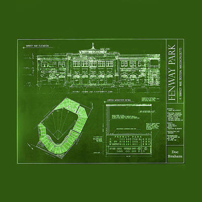 Fenway Park Blueprints Home Of Baseball Team Boston Red Sox Poster