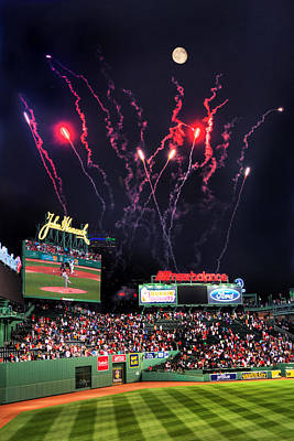 Fenway Park Fireworks - Boston Poster by Joann Vitali