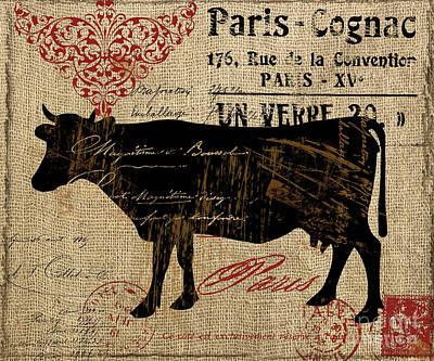 Ferme Farm Cow Poster by Mindy Sommers