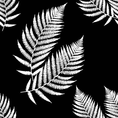 Poster featuring the mixed media Fern Pattern Black And White by Christina Rollo