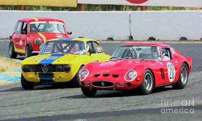 Ferrari 250 Gto And Alfa Gtv And Austin Mini At Sonoma Poster by Tad Gage