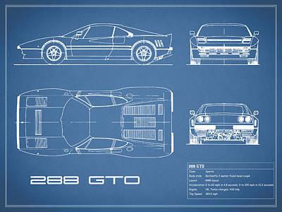 Ferrari 288 Gto Blueprint Poster by Mark Rogan