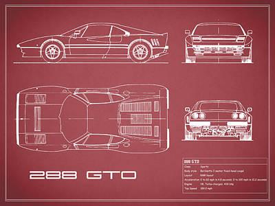 Ferrari 288 Gto Blueprint - Red Poster by Mark Rogan