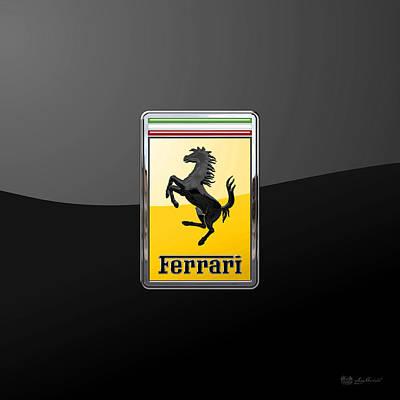 Ferrari - 3 D Badge On Black Poster by Serge Averbukh