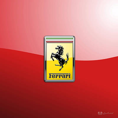Ferrari 3d Badge-hood Ornament On Red Poster by Serge Averbukh