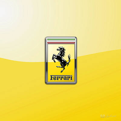 Ferrari 3d Badge- Hood Ornament On Yellow Poster by Serge Averbukh