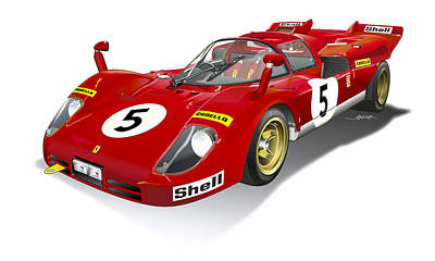 Ferrari 512 Illustration Poster by Alain Jamar