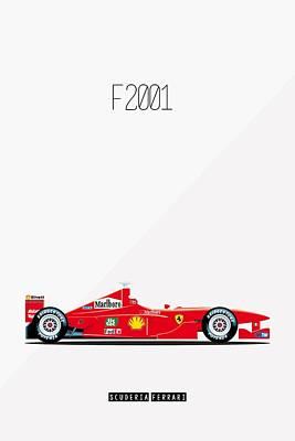 Ferrari F2001 F1 Poster Poster by Beautify My Walls