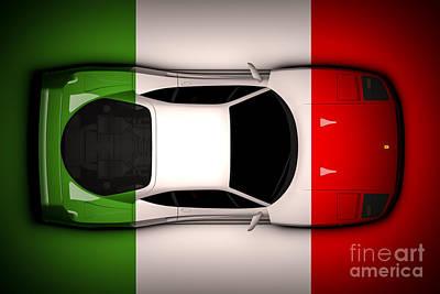 Ferrari F40 - Italian Flag Poster