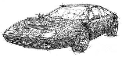 Ferrari Handmade Drawing, Black Ink On Paper, Old Ferarri Poster by Pablo Franchi