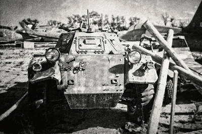 Ferret Armored Car In Black And White Poster